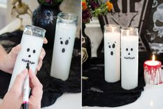 12 Ridiculously Easy Dollar Store Halloween DIYs Draw spooky faces on white dollar-store candles. Dollar Tree Halloween Decor, Outside Halloween Decorations, Halloween Room Decor, Dollar Store Halloween, Dollar Tree Decor, Dollar Tree Crafts, Halloween Crafts, Halloween Party, Paper Halloween
