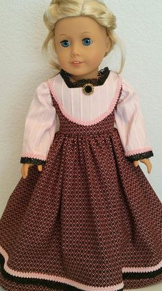 American Girl or 18 Inch Doll Historical Mid-1800's Dress in Pink and Black