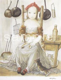 Tsuguharu Foujita Japanese), Girl and cat at a kitchen. Bohemian Culture, Japan Art, Japanese Artists, I Love Cats, Artist At Work, Great Artists, Art Girl, Painting & Drawing, Art Reference