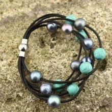 10-11 MM 2.5 MM hole of blue pearl of potato and 8 MM to 2.5 MM turquoise bracelets ETS-B185