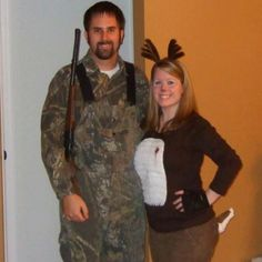 """My husband and I had DIY costumes for Halloween this year. I decided we dress up as a hunter and his """"dear"""". He wore a camouflaged outfit he already had and borrowed a bb gun from my brother. I found some brown corduroy pants I had and, with safety pins, attached a tail to the back that I made out of dark brown burlap stuffed with leftover fabric and sewed it to make the tail stick up. Then I hot glued cotton balls underneath for the white part. Next I took some pieces of white felt cut them…"""