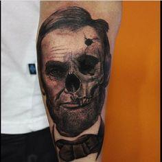 Abraham Lincoln in the process of decaying by Alexandr Litvinov. #inked #inkedmag #tattoo #abraham #lincoln #president #art #skull #skulls
