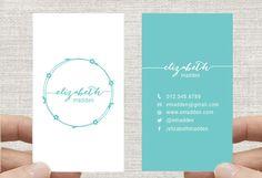 "Business Card Design Template, Vertical, Simple Floral Wreath, Custom Digital Download 2x3.5"" by inmystudioo on Etsy"