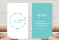 "Business Card Design Template, Vertical, Simple Floral Wreath, Custom Digital Download 2x3.5"" by inmystudioo on Etsy"