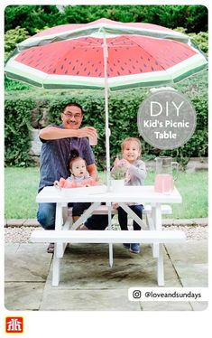 Sitting at the kids' table just got a lot more fun! Build your own DIY picnic table and add a pop of colour with paint. Outdoor Projects, Easy Diy Projects, Outdoor Decor, Diy Picnic Table, Home Hardware, Build Your Own, Diy For Kids, More Fun, Backyard