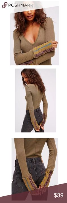 FP WE THE FREE Art School Thermal Knit Cuffs Sz L This trendy FP thermal is perfect for any cozy casual day! It's a forest green/olive color. The knit decorative sleeves are to die for, with the funky cute patterns, textures and buttons. Has a deep V neckline, fits close to the body, for a form fitting figure. I have included a close up photo of the fading the shirt has, nothing drastic. Normal when clothing has been washed, especially for thermals.  Measurements: • Bust (pit to pit):  •…