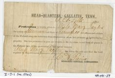 Order of protection issued at Gallatin, Tennessee, for Mary Taylor of Sumner County :: Civil War Military Records
