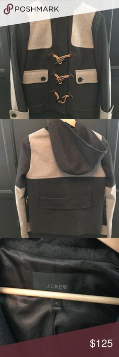 J. Crew Colorblock Duffle Wool Coat Women's Size 2 Beautiful wool coat with hood, zipper, toggles and button-flap pockets. Looks brand new, barely worn (size too small for me) Perfect fashionable and unique coat for the winter, very well-made. J. Crew Jackets & Coats Pea Coats