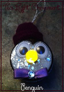 DIY Tea light penguin Christmas ornament. Christmas craft, easy TUTORIAL. will look so cute on Christmas tree or as childs night light.. holiday decor. You may also like the snowman version, http://www.pinterest.com/pin/468092954991227724/