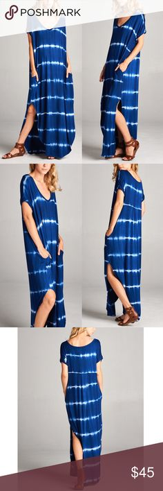 "KANA tie dye boho chic dress - ROYAL BLUE A contemporary v-neck maxi dress featuring a stripe tie dyed pattern and side slits. Which girl doesn't love a dress with pockets. ONE OF MY BEST SELLING MAXIS. super comfy. Loose, oversized fit.   AVAILABLE IN OLIVE & NAVY  SIZE & FIT - Model is wearing size S - Measurements taken from size S - Length: 59"" - Chest: 23""   NO TRADE, PRICE FIRM Bellanblue Dresses Maxi"
