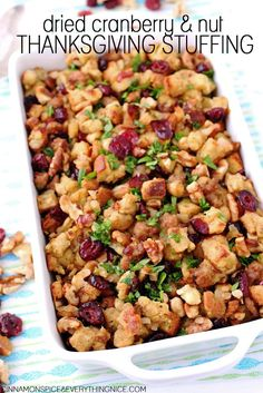 Traditional holiday sausage stuffing recipe overflowing with dried cranberries and walnuts or pecans. You can stuff a turkey or chicken with it or bake it in a casserole dish.