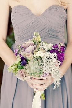 Very vintage mixed bouquet with succulents and lavender flowers 44 Loveliest #Lavender #Wedding #Details