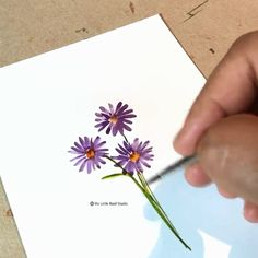 Watercolor Floral Paintings Here's the tutorial about paint this purple floral by us and visit our stationery store to shop Watercolor Flowers Tutorial, Watercolour Tutorials, Flower Tutorial, Watercolor Cards, Watercolour Painting, Floral Watercolor, Watercolor Paintings For Beginners, Watercolor Beginner, Flower Art