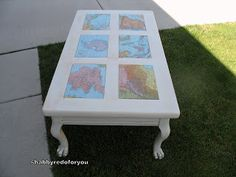 Shabby Redo For You !: Shabby Coffee Table with Decoupage World Maps