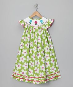Take a look at this Lime Green & Pink Flower Dress - Infant, Toddler & Girls by Sew Childish on #zulily today!