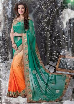 Fancy Jade Green & Orange #Saree