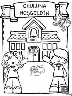 İlkgünler D School, School Items, First Day Of School, Cute Coloring Pages, Coloring Books, Tatto For Men, Education Clipart, Cute Halloween Treats, Drawing School