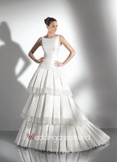 Beautiful Glorious A-line Bateau Tiered Floor-Length Wedding Dress - Shop Online for Beautiful Wedding Dresses