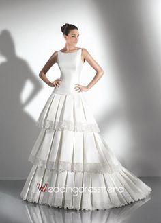 Beautiful Glorious A-line Bateau Tiered Floor-Length Wedding Dress - Shop Online for Beautiful Wedding Dresses