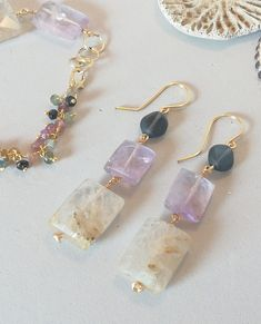 Amethyst Gemstone and Rutile Quartz, Long Dangle Earrings with Blue glass accent beads. Gemstone Earrings - Amethyst Gemstone and Rutile Quartz Long Dangle Earrings with Crystal Earrings, Crystal Jewelry, Beaded Earrings, Earrings Handmade, Gemstone Jewelry, Beaded Jewelry, Handmade Jewelry, Diy Drop Earrings, Chandelier Earrings