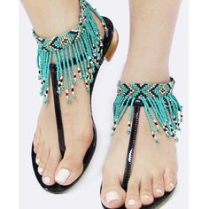 """Bohemian Seed Bead Fringe Anklet Set. Price firm. Ready for Summer! Bohemian Seed Bead Fringe Anklet Set. Button closure. Approx 10"""" length. Lead/Nickel compliant. Made in India. Color-Turquoise/black. Jewelry"""
