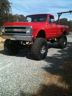 1969 Chevy truck 4x4 - reminds me of high school, knew a special someone who had this truck... In blue <3