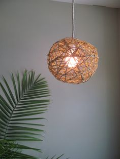 Large Natural Hanging Woven Willow Sphere Lamp by DriftingConcepts, $125.50