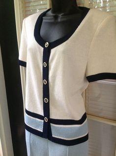 St John Pant Suit Set Short Sleeve Sz 10 Marie Gray Light Blue Navy White Knit #StJohn #PantSuit