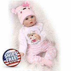 Reborn Baby Doll Realistic Real Looking Eye Hair Lip Nail Pacifier Dummy Bottle #BabyDoll Newborn Baby Dolls, Baby Girl Dolls, Baby Doll Clothes, Boy Doll, Reborn Toddler, Toddler Dolls, Reborn Babies, Reborn Doll Kits, Baby Play