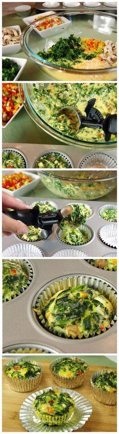 Vegetable cups: espinafre picado e bem seco, 7 ovos, pimenta dedo de moça picada, cogumelos picados finos, cebola picada fina. misturar e colocar na forminha. levar ao forno