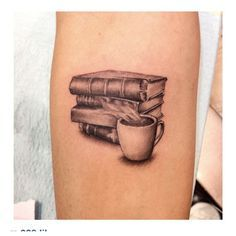 Books and Coffee Tattoo, by Legion Avegno of Fallen Sparrow Tattoos                                                                                                                                                     More