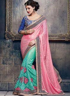 Pink With Turquoise Brasso Sarees Online ,Veeshack.com   Fashion for the World - 1 #DesignerSarees #Pink #Green #Brasso #Net #SequinWork