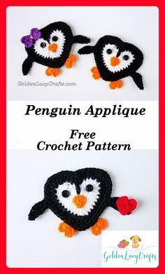 Penguin Applique, free crochet pattern - GoldenLucyCrafts