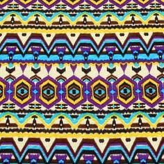 Ethnic Jewel Cotton Slub Jersey Blend Knit Fabric :: $6.75