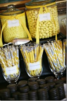 Yellow candies for favors