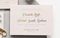 Ballet Wedding Invitation - Gold Foil on Pink Paper by Sincerely, Jackie