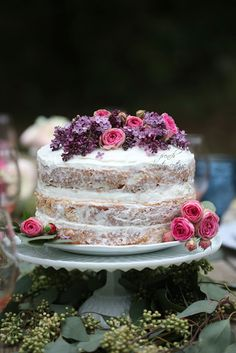 The easiest romantic rustic flower topped cake  for Valentine's Day.    I am admittedly more than a little obsessed with fresh flowers...         and talk to me about fres...