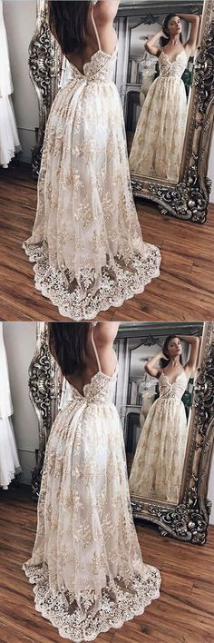 Stunning Champagne Lace Princess Backless Evening Gowns,Prom Dresses,Party Dresses,PDY0342#prom dresses#