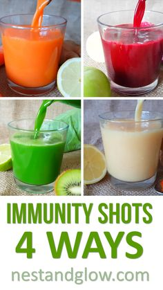 Immunity Juice Shots - 4 Ways. Easy to make and take juice shots bursting with g. Immunity Juice Shots - 4 Ways. Easy to make and take juice shots bursting with good stuff. They are low in sugar and half vegetables Detox Diet Drinks, Healthy Juice Recipes, Smoothie Detox, Juicer Recipes, Healthy Detox, Healthy Juices, Healthy Smoothies, Healthy Tips, Detox Juices