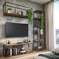 Home Room Design, Home Interior Design, Home Living Room, Living Room Decor, Living Room Shelves, Wall Shelves, Home Decor Furniture, Furniture Design, Metal Furniture