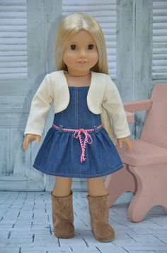 American Girl Doll Clothes  Denim  Dress and by Symidollsclothes, $20.00