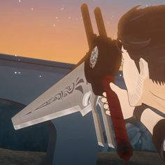 Qrow's Weapon is a large bladed weapon that can take on multiple forms. Qrow Branwen is first. Rwby Qrow, Qrow Branwen, Rwby Fanart, Happy Moments, Drawing People, Me Me Me Anime, Weapons, Cosplay, Fan Art