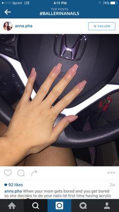 Pinkish nude coffin ballerina nails