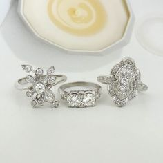 14K WHITE GOLD RINGS THE VINTAGE 1 CTTW RING IN THE CENTER IS MY FAVORITE!