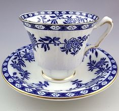Vintage Crown Staffordshire England Blue Tea Cup and Saucer Set. Tea Cup Set, My Cup Of Tea, Cup And Saucer Set, Tea Cup Saucer, Vintage Cups, Vintage Tea, English Tea Cups, Vintage Dinnerware, Chocolate Cups