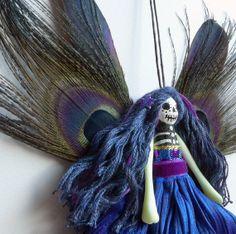 Christmas Tree Ornament, fairy peg doll, Day of the Dead fairy decoration, OOAK