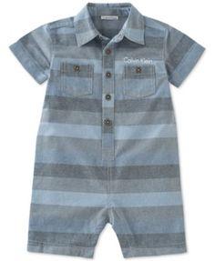 7f1295aab Calvin Klein Baby Boys' Stripe Woven Romper & Reviews - All Baby - Kids -  Macy's