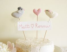 Personalized Bird Wedding Cake Topper with by cherrytime on Etsy. $59.00, via Etsy.