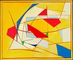 Richard Mortensen: Komposition, 1953. Sign. på bagsiden RM 53 med dedikation. Olie på lærred. 60 x 73.