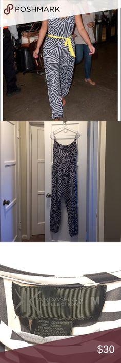 Kardashian Kollection Jumpsuit Black & white jumpsuit, gently worn, ankle length tapered elastic leg. No belt Kardashian Kollection Other